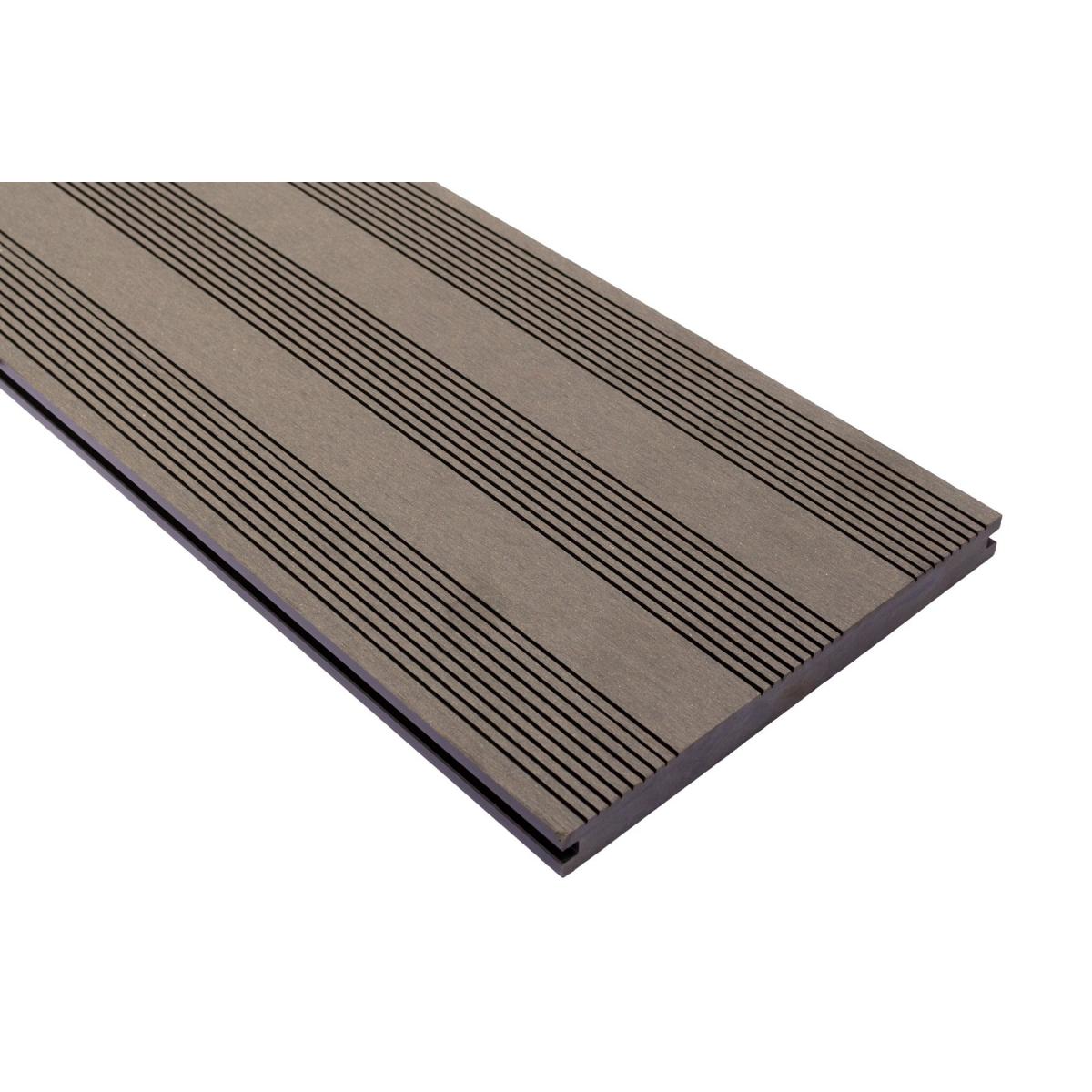 Vareprøve Terrassebord kompositt Wideplank massiv grå 22cm bredde